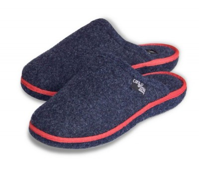 Ladies Navy Blue Felt Mule Slippers AVA