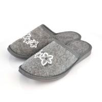 Ladies Grey Felt Mule Slippers SANSA
