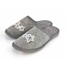 Ladies Grey Felt Mule Slippers SANSA