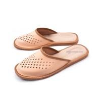 Tan Men's Leather Slippers KAISER