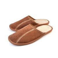 Brown Suede Mule Slippers CLAY