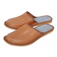 Tan Men's Leather Slippers TADDEO