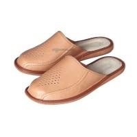 Tan Leather Look Mules for Men JONAS