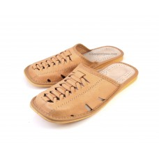 Tan Men's Leather Slippers CROCODILES