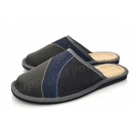 Black & Blue Leather Slipper GUIDO