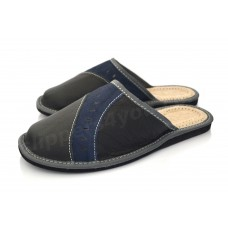 Black & Blue Leather Slipper GUIDO