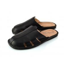 Black Calfskin Mule Sandals TRISTAN