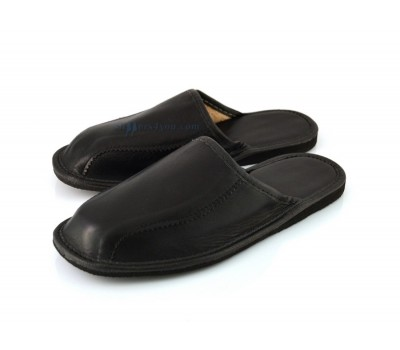 Black Calfskin Slippers BRANDO