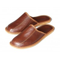 Brown Leather Mule Slipper MAROON