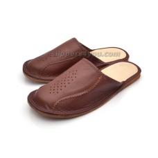 Brown Leather Mule Slipper MAROON II