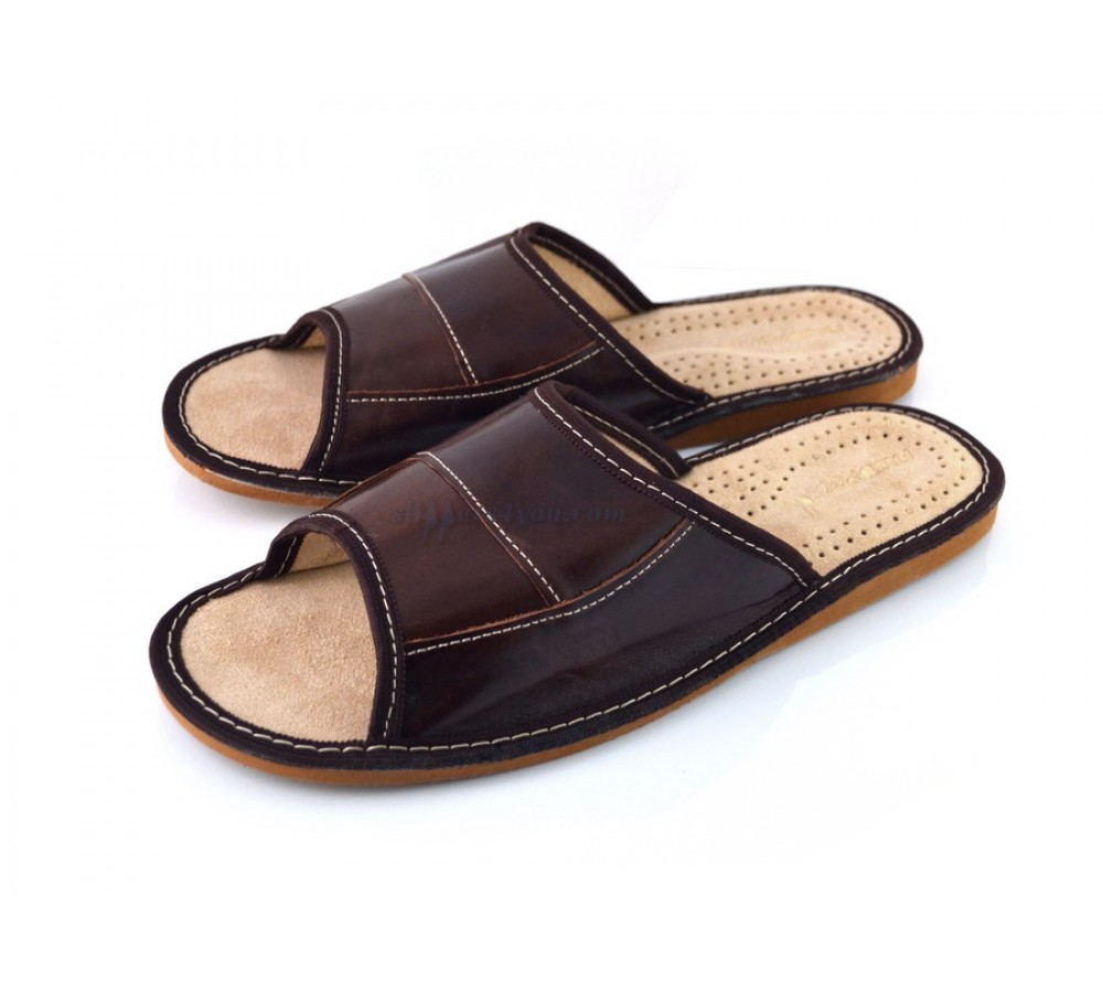 8380298f3e1822 Open Toe Men Slipper from Soft Real Leather (341-pm)