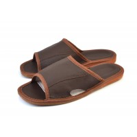 Open Toe Brown Leather Mule Slippers SEBASTIAN