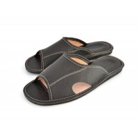 Open Toe Black Leather Mule Slippers SEBASTIAN