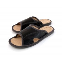 Open Toe Black Leather Mule Slippers SEBASTIANO