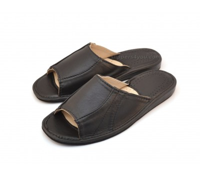 Luxury Open Toe Calfskin Mule Slippers ARISTOCRATO