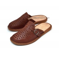 Brown Yuft Leather Slippers CRISTIANO