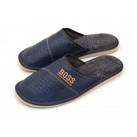 Navy Blue Leather & Wool Slipper BOSS