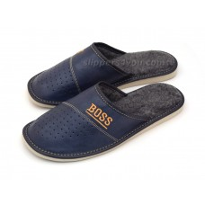 Navy Blue Leather & Wool Slipper BOSS