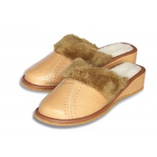Tan Winter Wedge Mule Slippers TORVI