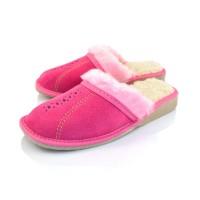 Pink Suede & Wool Slipper Mule ROSA