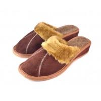 Brown Winter Wedge Mule Slippers ARYA