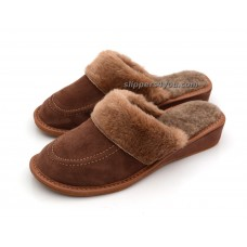 Brown Winter Wedge Mule Slippers ARYA