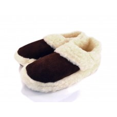 Brown Leather & Lambswool Moccasin Slippers SIGGY