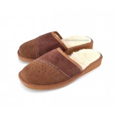 Brown Suede & Wool Slipper Mule TANNON
