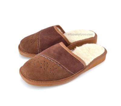 Brown Suede & Wool Slipper Mule TANNON