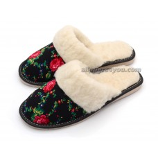 Black Winter Mule Slippers ROSETTA