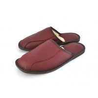 Calfskin & Wool Mule Slippers BURGUNDY