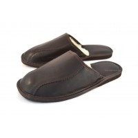 Classic Brown Leather & Wool Slipper SOLTAN