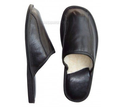 Classic Black Leather & Wool Slipper SOLTAN