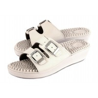 White Massage Sandals - Mules with a Buckle