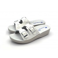 Open Toe White Mules Real Leather Sole