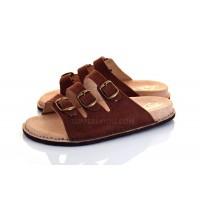 Brown Triple Buckle Sandals SAFARI