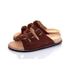 Brown Triple Buckle Sandals SAFARI