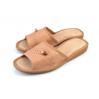 Open Toe Leather BERRY Slippers