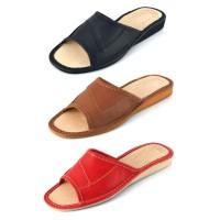 Open Toe Leather Slipper ADA in Red, Brown, Black