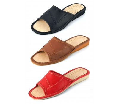 Open Toe Leather Slipper ADA in Red, Brown, Black