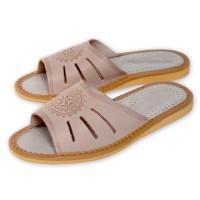 Folk Motif Leather Slippers ELVA