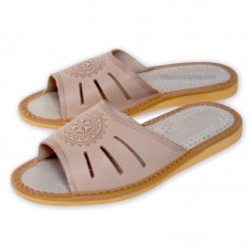 Folk Motif Leather Slippers ELVA