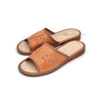 Peep Toe Tan Leather LINDASA Slippers