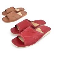 Open Toe Calfskin Slipper ROSIE in Red or Brown