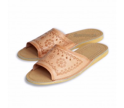 Open Toe Natural Leather Slippers THEA