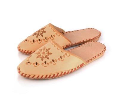 Tan Leather ALBERTINA Slippers